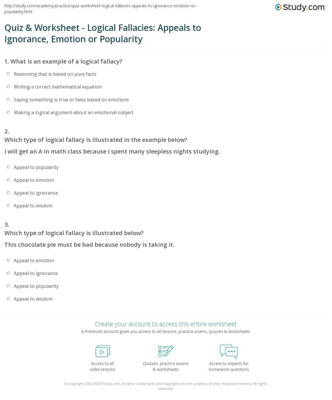 Logical Fallacies Worksheet High School Quiz Amp Worksheet