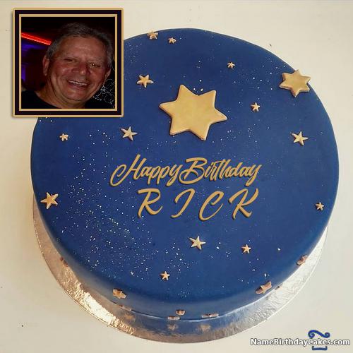 Enjoyable Photofunia Birthday Cake With Photo R I C K Birthday Cake With Funny Birthday Cards Online Necthendildamsfinfo