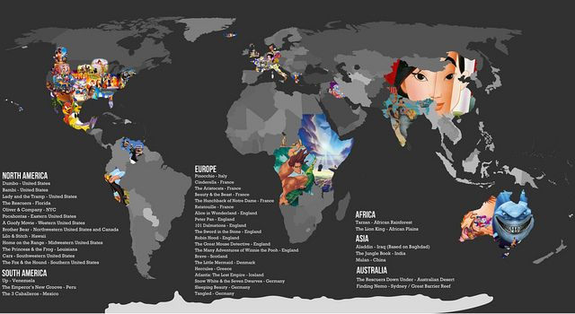 Disney Movie World Map.Disney Map 2 Labeled Disney Disney Disney Movies Disney Map