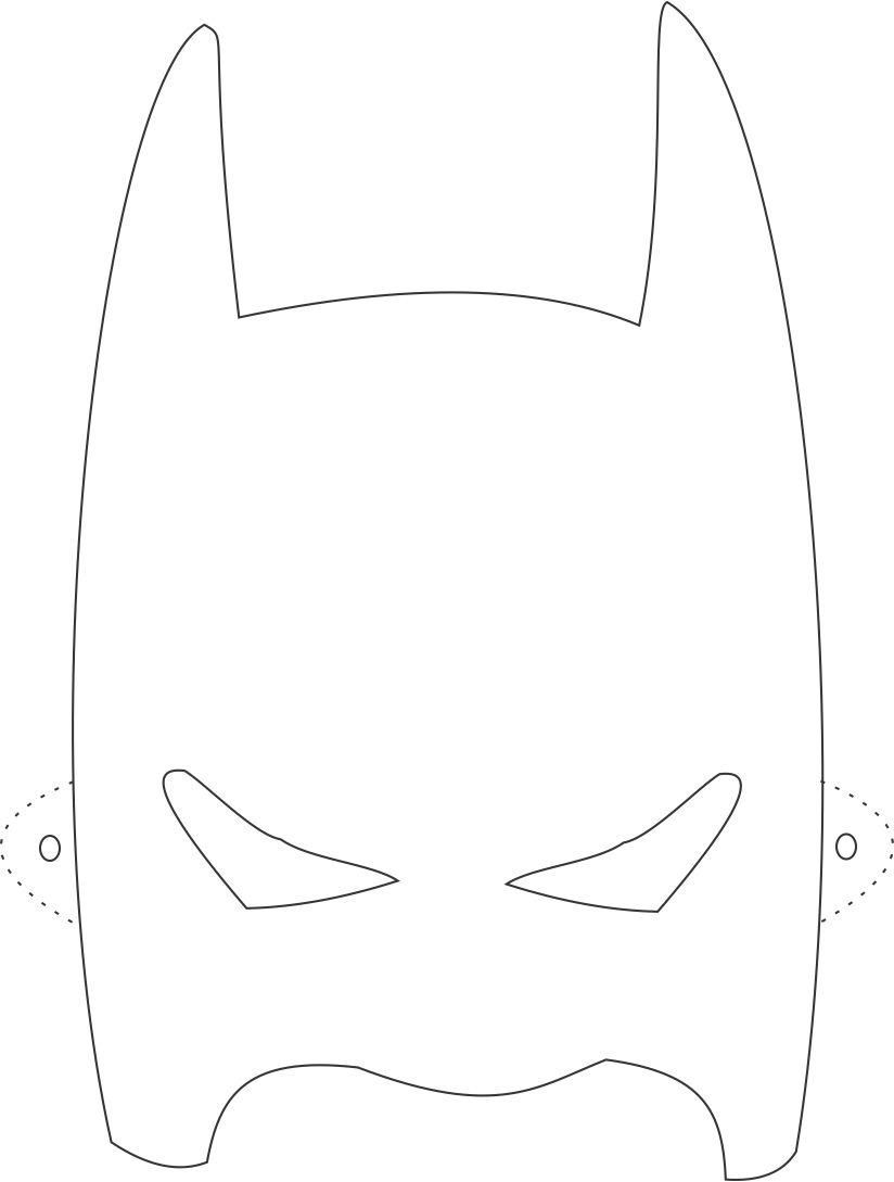 Batman mask printable coloring page for kids: Coloring