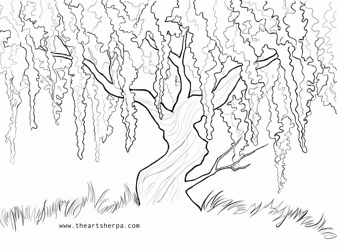 Wisteria Willow Trace able for the Weeping Willow Q tip project on