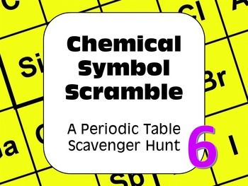 Periodic table of elements scavenger hunt chemical symbol scramble a periodic table of the elements scavenger hunt all about chemical symbols and mystery words urtaz Gallery
