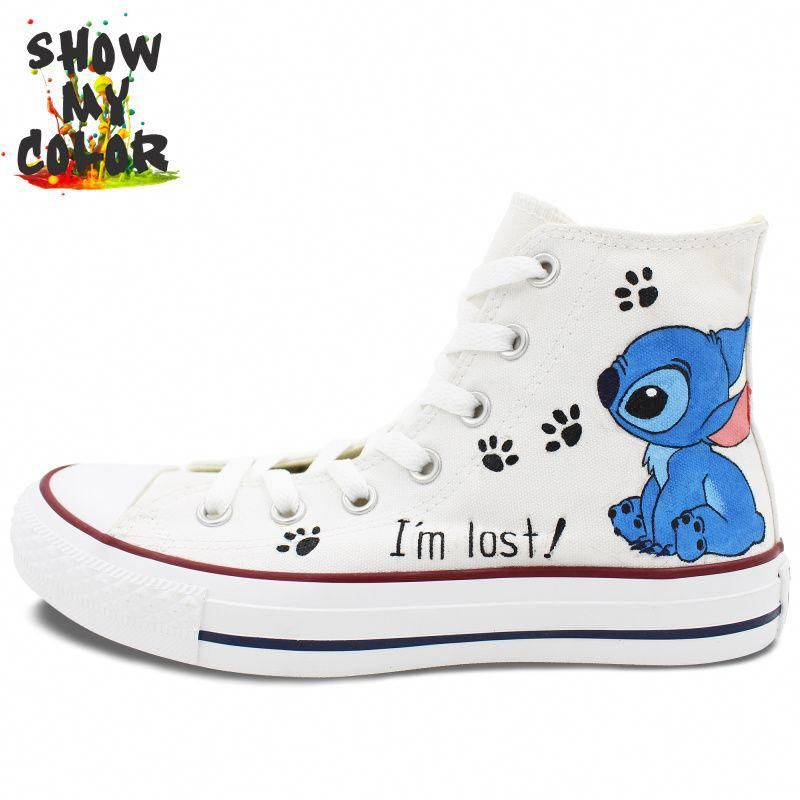 8c07b316b54a7 Converse Men Womens Shoes Hand Painted Stitch High Top Canvas ...