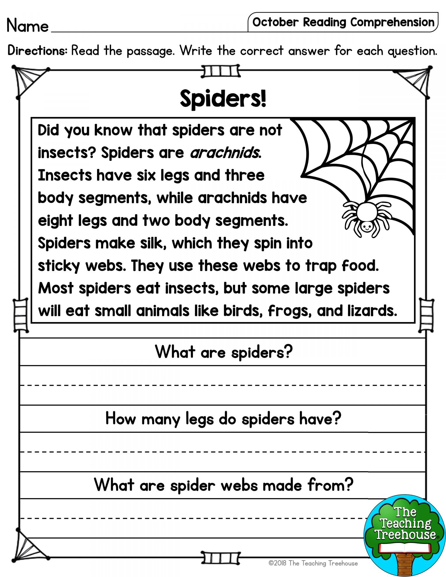 Spider Reading Comprehension Worksheet And October Reading