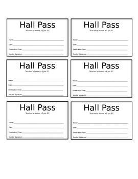 Hall Pass Template Hall Pass Bathroom Pass Teacher Templates