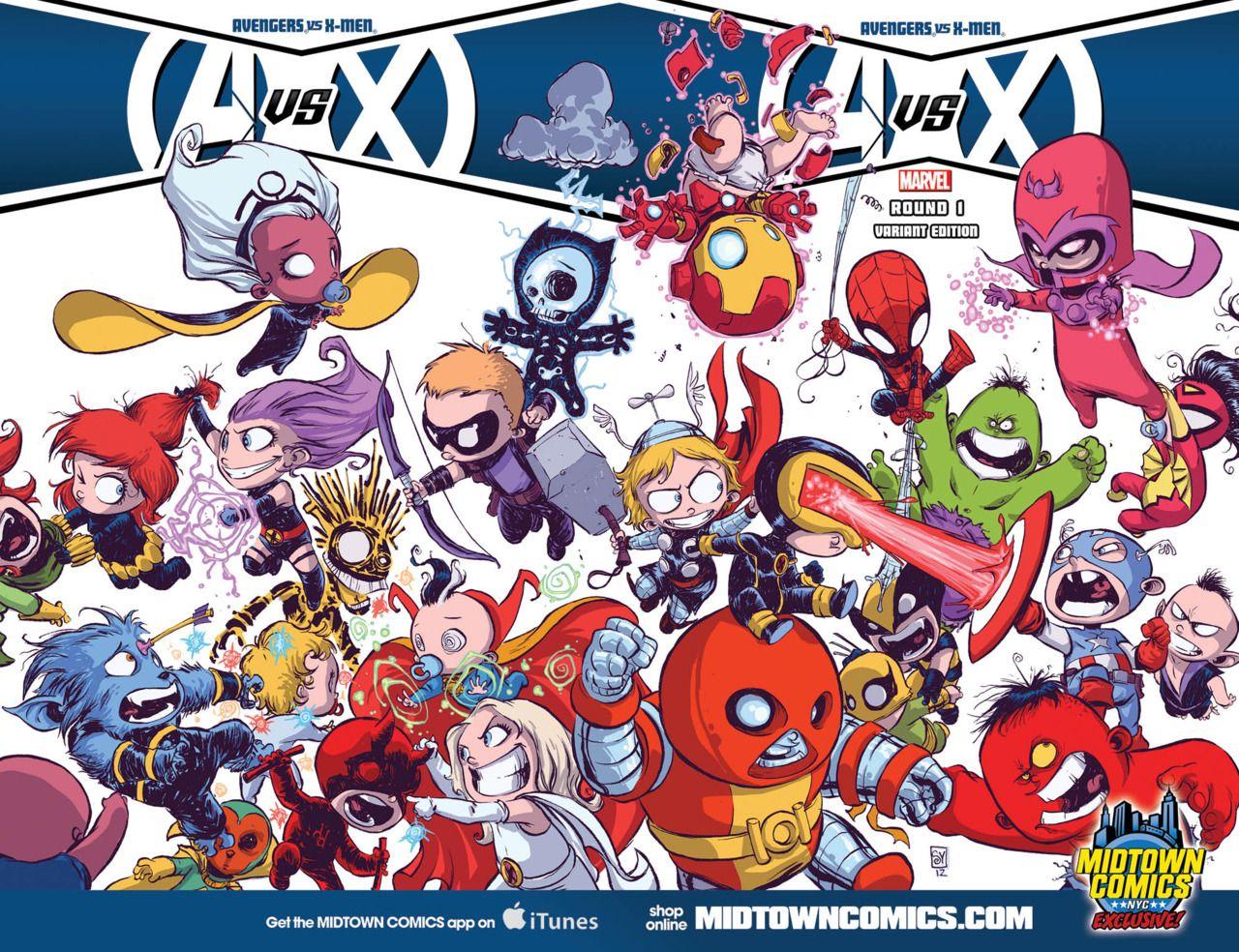Avengers Vs X Men War Is Adorable When Skottie Young Draws It Baby Avengers Avengers Fan Art Baby Marvel