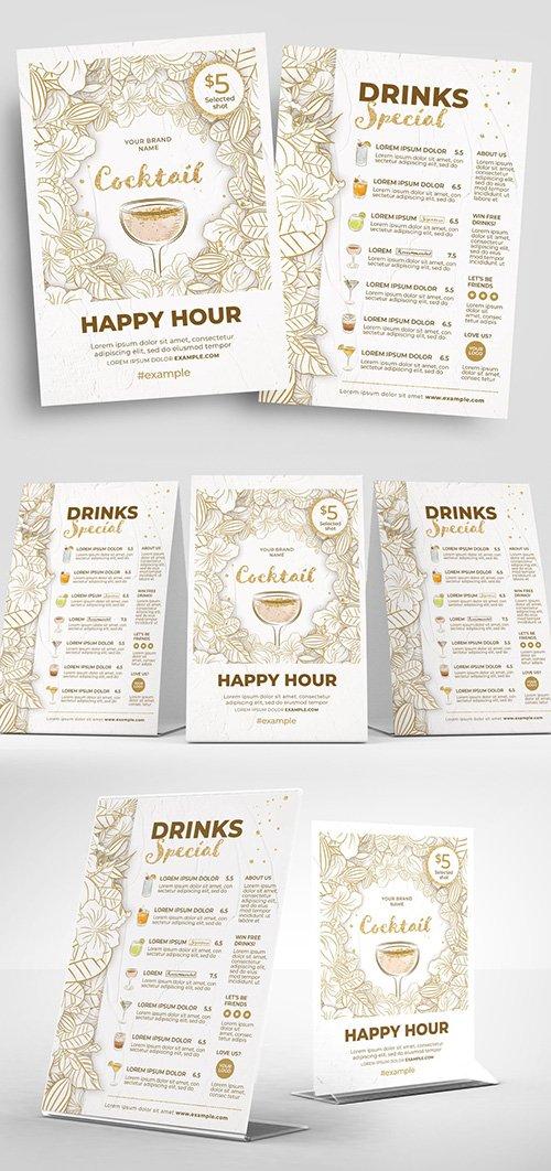 Cocktail Bar Menu Flyer Layout With Minimalist Floral Illustrations Food Menu Templates Free Psd Templates