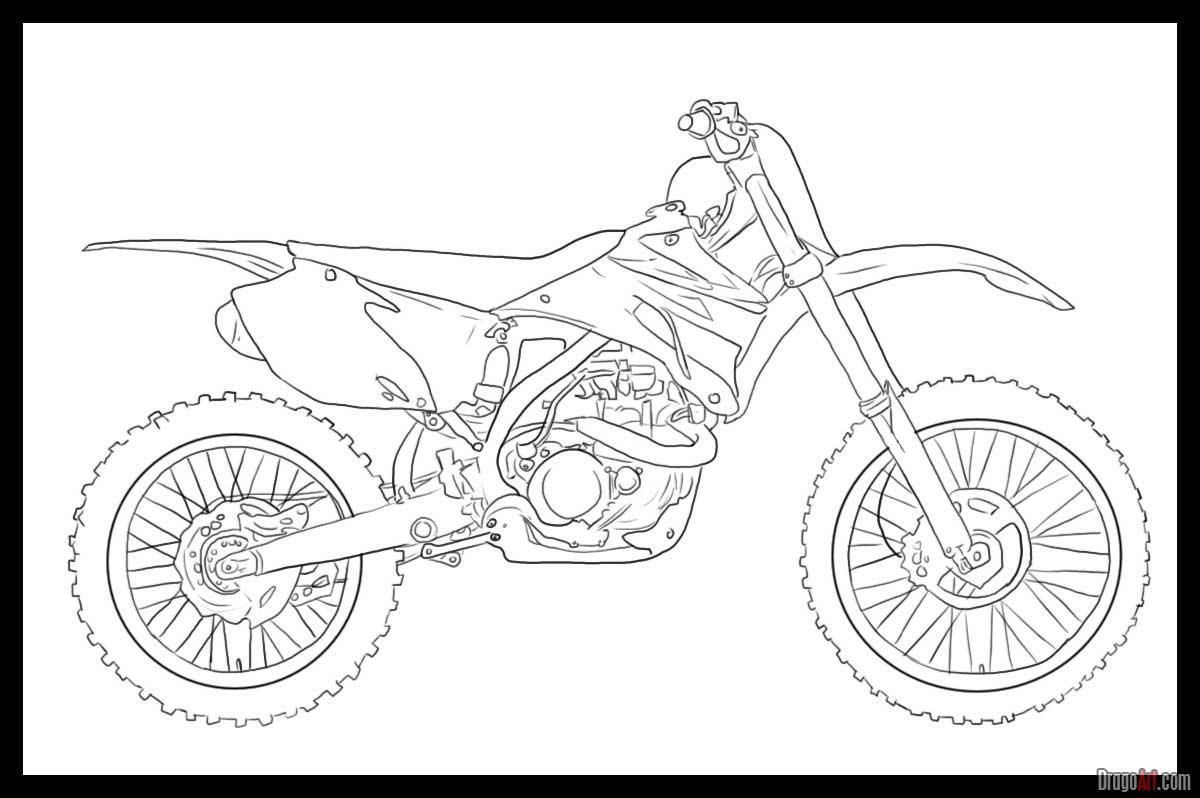 How To Draw A Dirt Bike By Dawn With Images Bike Drawing