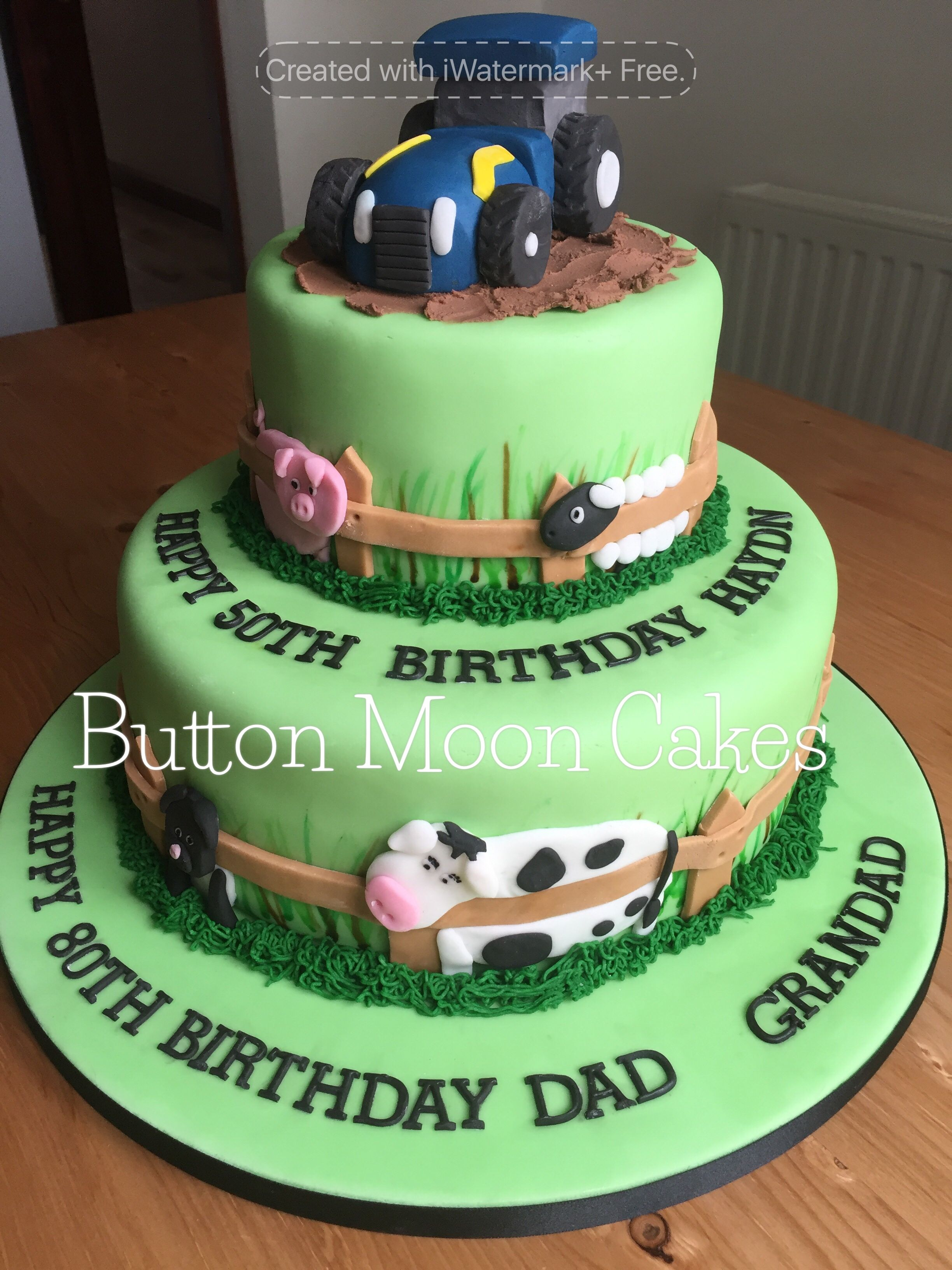 A Farm Animal Tractor Themed Two Tier Birthday Cake
