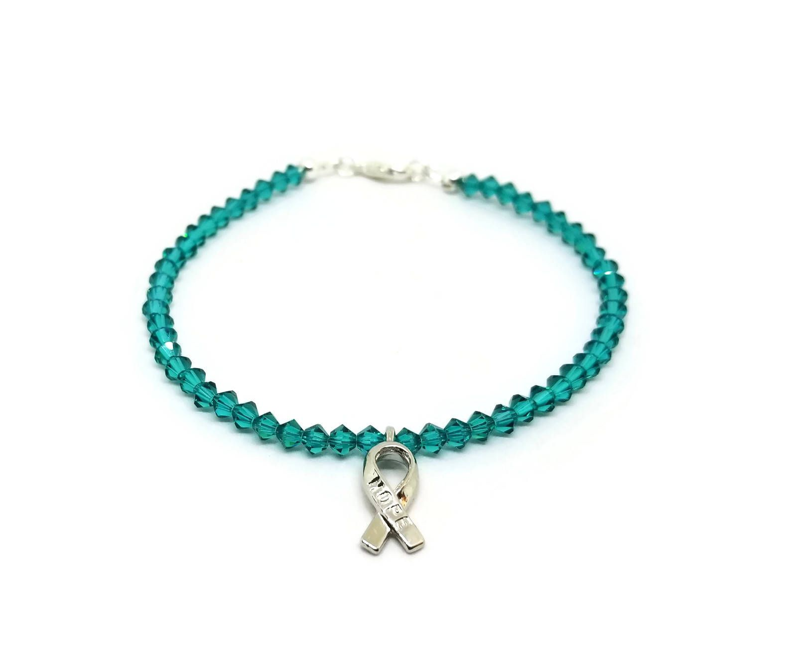 Teal Awareness Ribbon Bracelet Anti Bullying Anxiety Beaded Jewelry