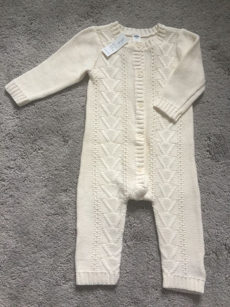 Nwt Baby Old Navy One Piece Cable Knit Cotton Sweater Romper Off