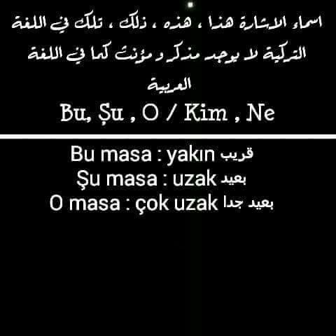 أسماء الإشارة في اللغة التركية Learn A New Language Learn Turkish Words