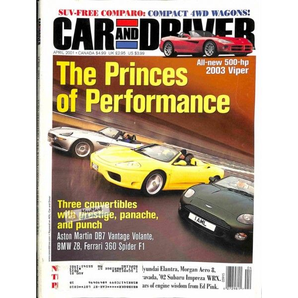 Bmw Z8 Sports Car: Cover Print Of Car And Driver, April 2001