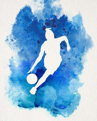 Basketball Girl Watercolor Silhouette Inverted Part II by Sports Mania
