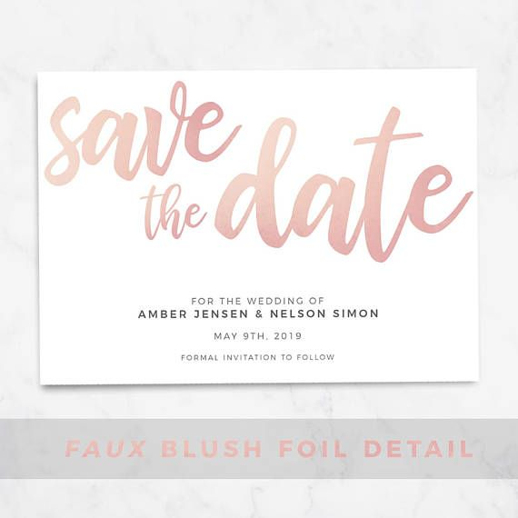 Blush Save The Date Printable Template Editable Download Visuals