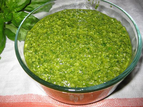 Homemade Pesto Sauce - Make sure the sauce is made without nuts!