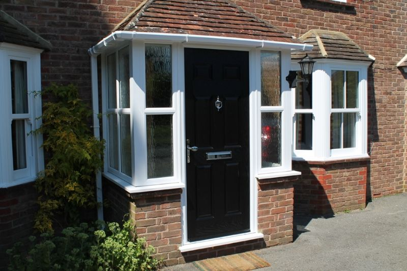 Porch Uk Black Door White Windows House With Porch Brick
