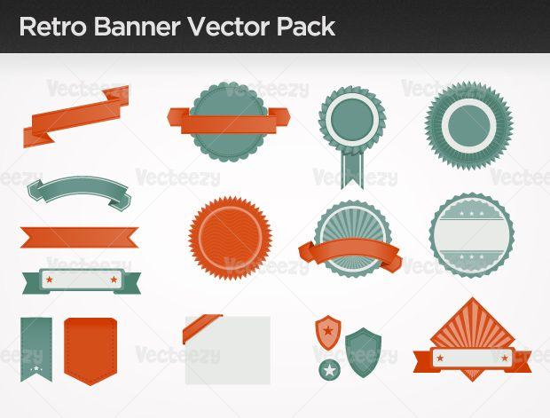 Retro banner vector pack Vecteezy Vectors Pinterest - fresh invitation banner vector