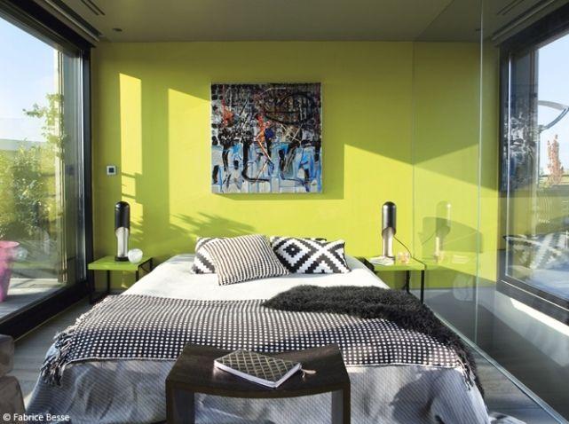 Chambre design mur vert | Home design | Pinterest | Chambre design ...