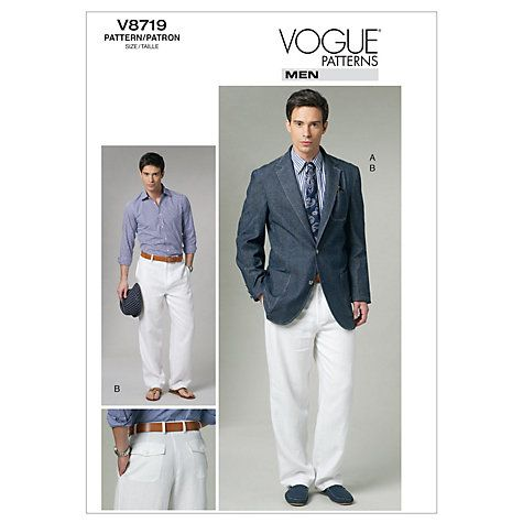 Vogue Men\'s Jacket and Trousers Sewing Pattern, 8719 | Nähen und ...