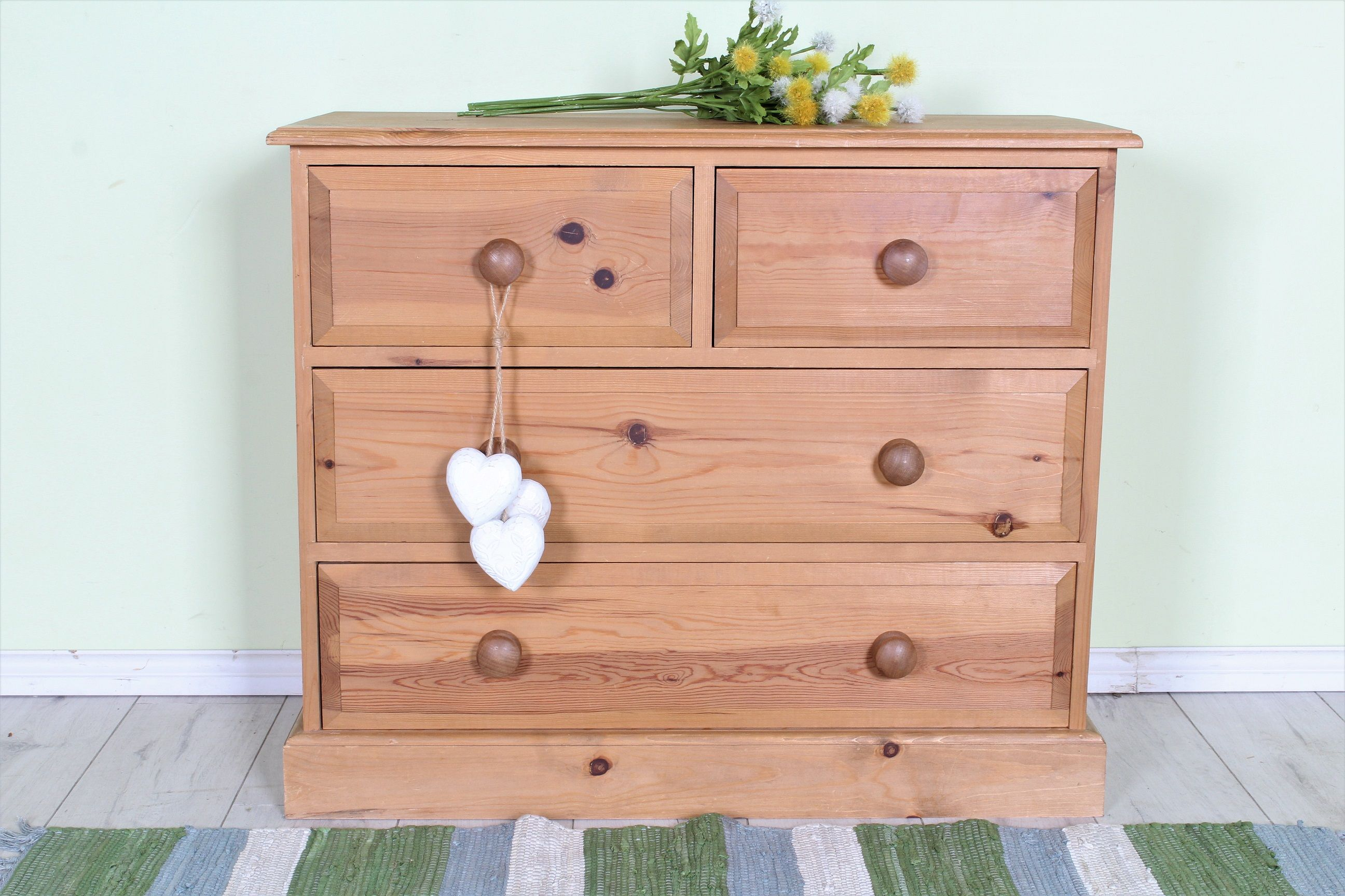 140 2 Over Pine Chest Of Drawers Waxed Light In Colour With Age