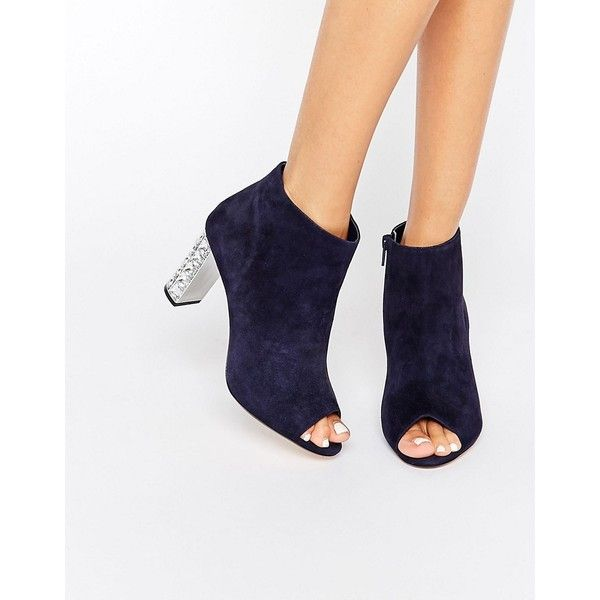 Dune Daniela Jewel Heel Suede Peep Toe Shoe Boot (85.490 CRC) ❤ liked on Polyvore featuring shoes, boots, ankle booties, navy, navy booties, suede peep toe booties, navy blue suede booties, high heel booties and peep-toe ankle booties