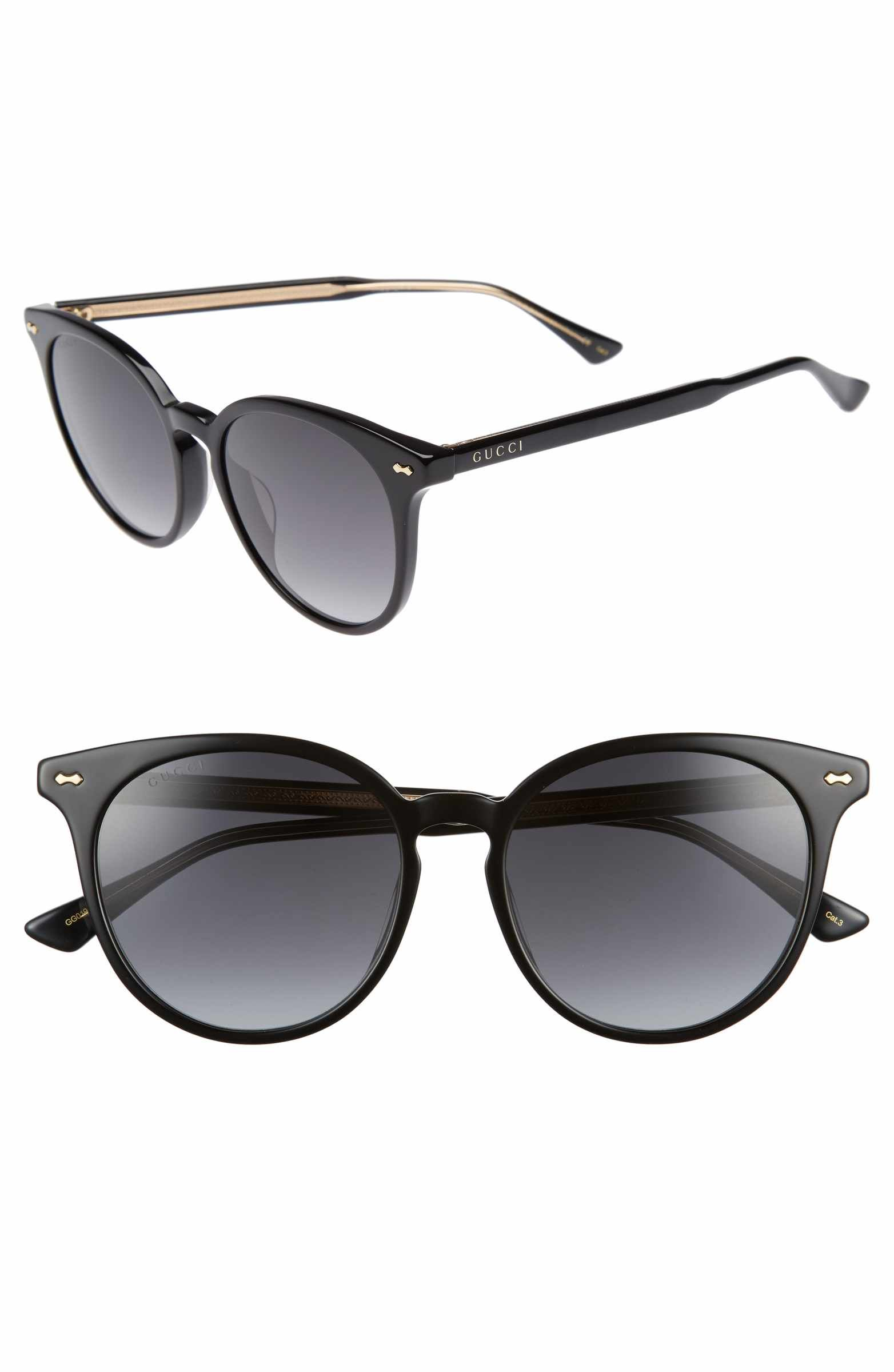 caaf589396509 Main Image - Gucci 55mm Round Cat Eye Sunglasses