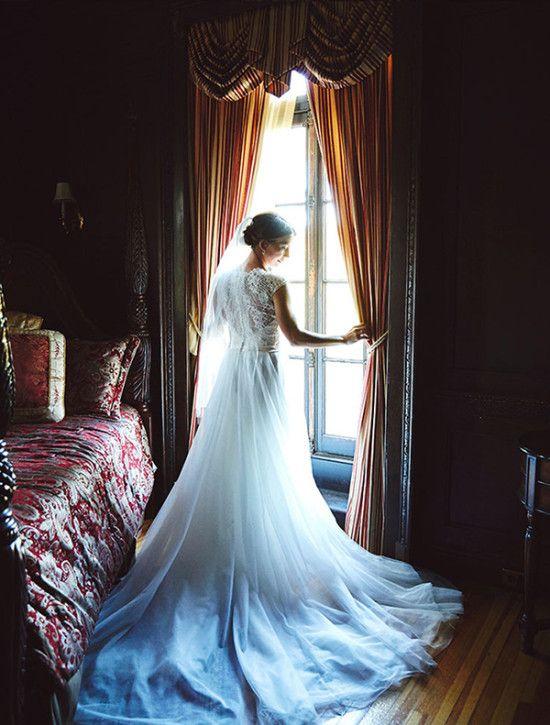 Bridal portrait idea in front of window