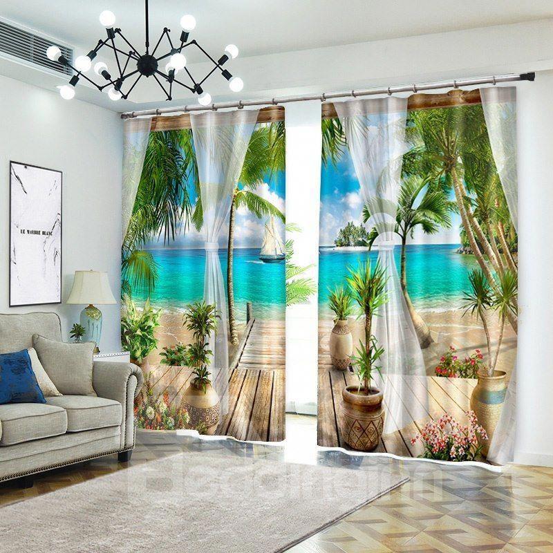 Tropical Beach Curtains D