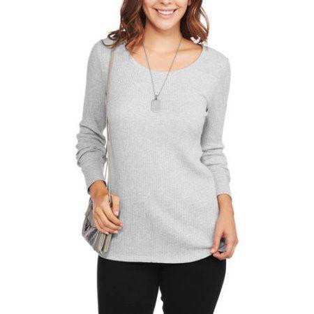 Faded Glory Women's Ribbed Long Sleeve Scoopneck T-Shirt, Size: Medium, Gray