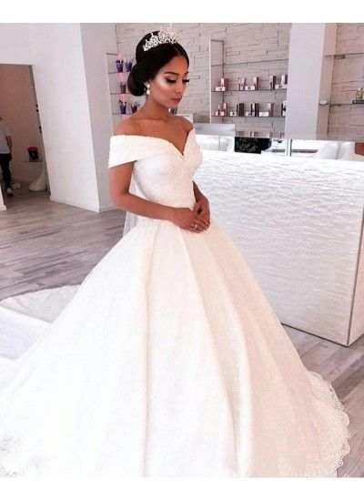 Hot Sale Magnificent Wedding Dress Lace V Neck Wedding Dress Vintage Wedding Dress Wed Ball Gown Wedding Dress Off Shoulder Wedding Dress Elegant Ball Gowns