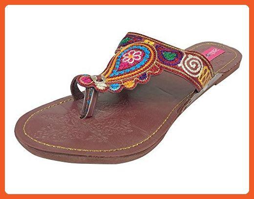 Step n Style Handmade Kolhapuri Chappal Flat Beaded Sandals