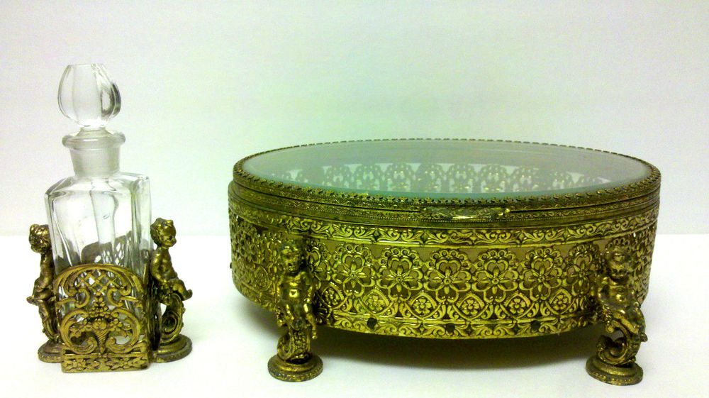 SET FILIGREE GOLD GILT CHERUB BEVELED DRESSER BOX CASKET & PERFUM SCENT BOTTLE