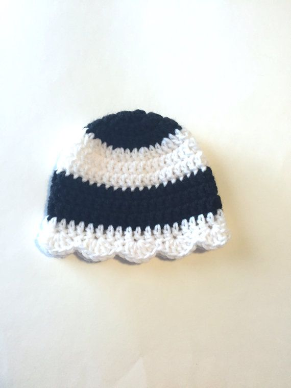 Black & White Striped Hat with Scallop Edge  by SmittenInAMitten
