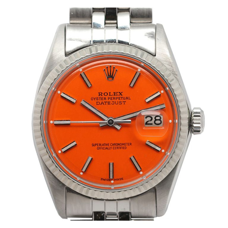 6eb609b88b1 Rolex Steel Datejust Watch with Custom Orange Dial circa 1968. The man that  needs this watch is the man for me.