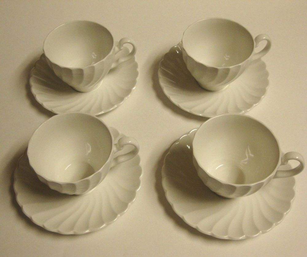 4 Vintage Johnson Bros Snowhite Regency White Swirl Cup u0026 Saucer Sets England #JohnsonBrothers : johnson brothers regency white dinnerware - pezcame.com