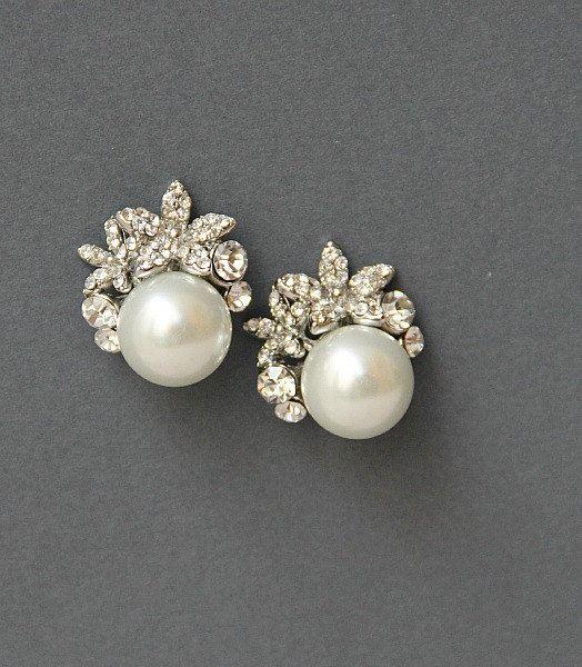 Lovely Crystal Pearl Wedding Stud Earrings Wedding Earrings Studs Bridal Earrings Studs Vintage Wedding Jewelry