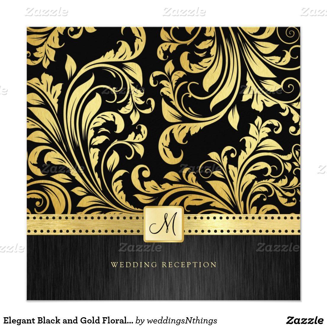 """Elegant Black and Gold Floral Damask Reception 5.25"""" Square Invitation Card"""