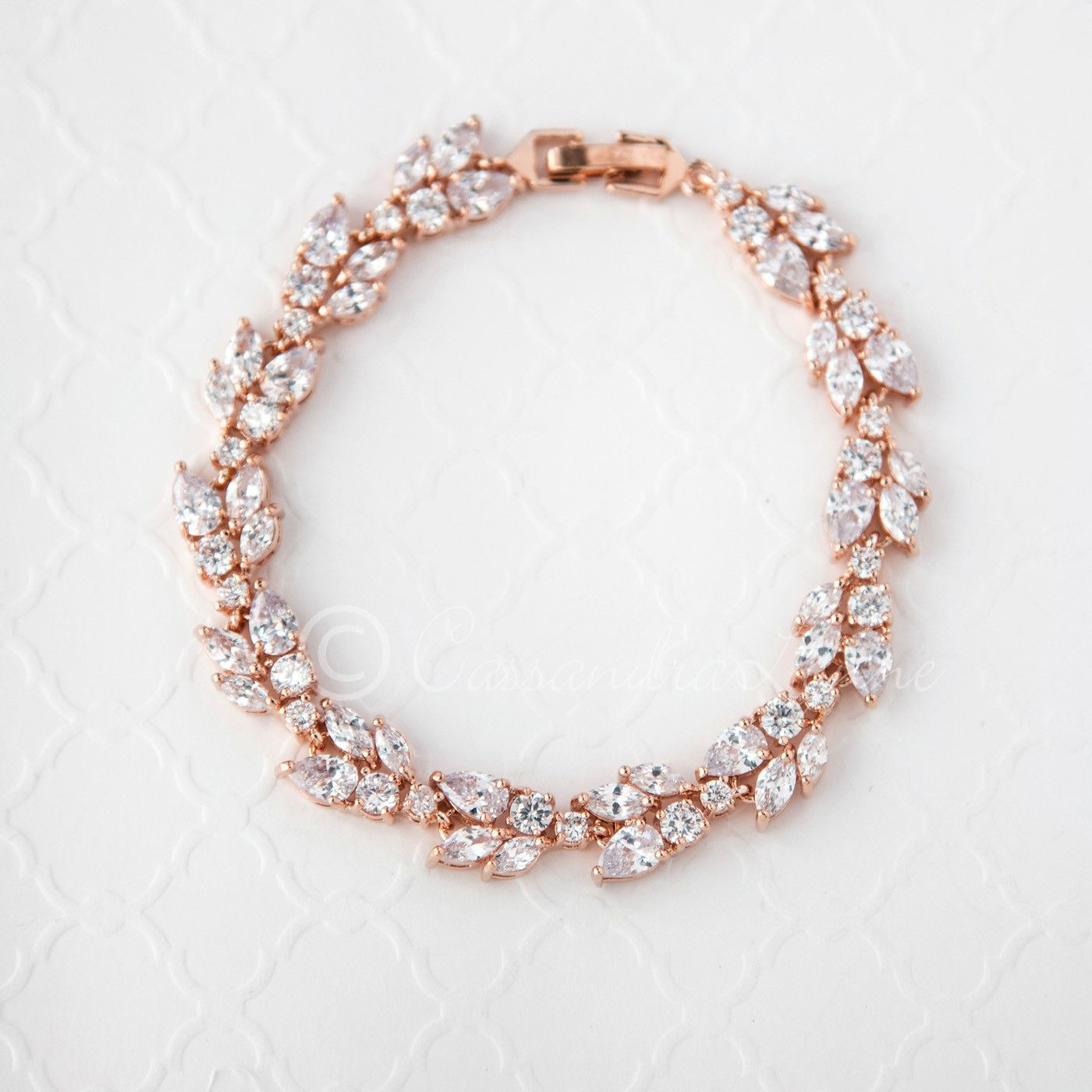 Rose Gold Bridal Bracelet with Marquise Leaf CZ Pear Jewel and Rose
