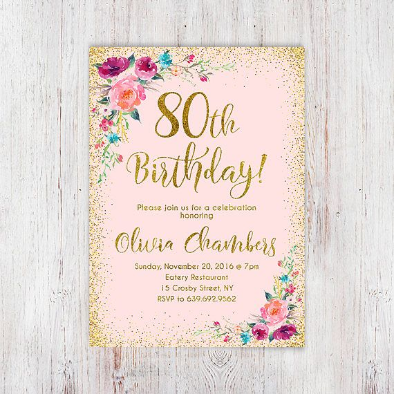 Floral pink and gold women birthday invitation 80th birthday floral pink and gold women birthday invitation 80th birthday filmwisefo