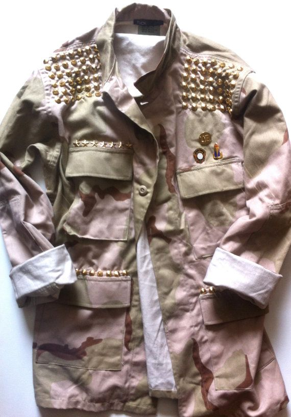 59aaa69c5f7b5 Womens Camo Jacket Army Fatigue with Gold STUDS Size by TUCKbrand ...
