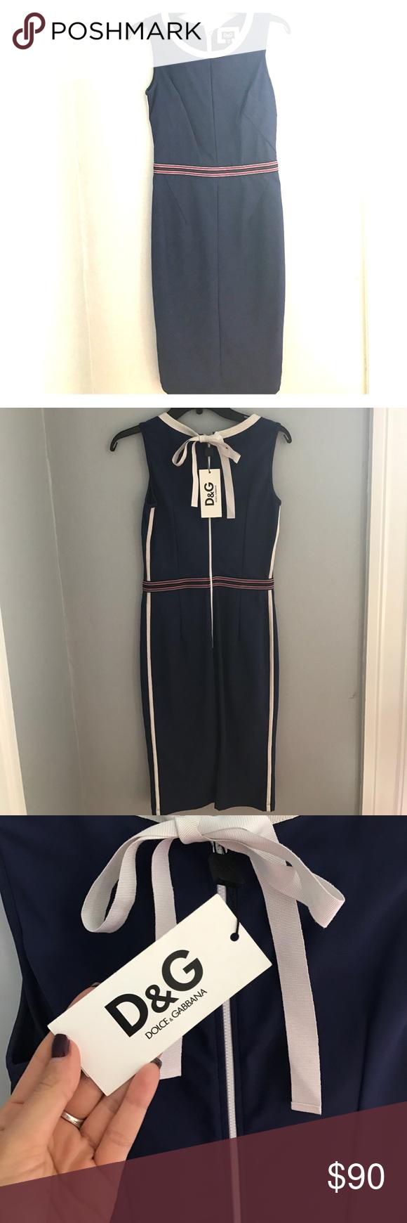 Dolce & Gabbana Nautical Dress Beautiful D&G Blue Slim Sport Dress. European size 40; US 8 equivalent. Never worn. New with tags. Dolce & Gabbana Dresses Midi