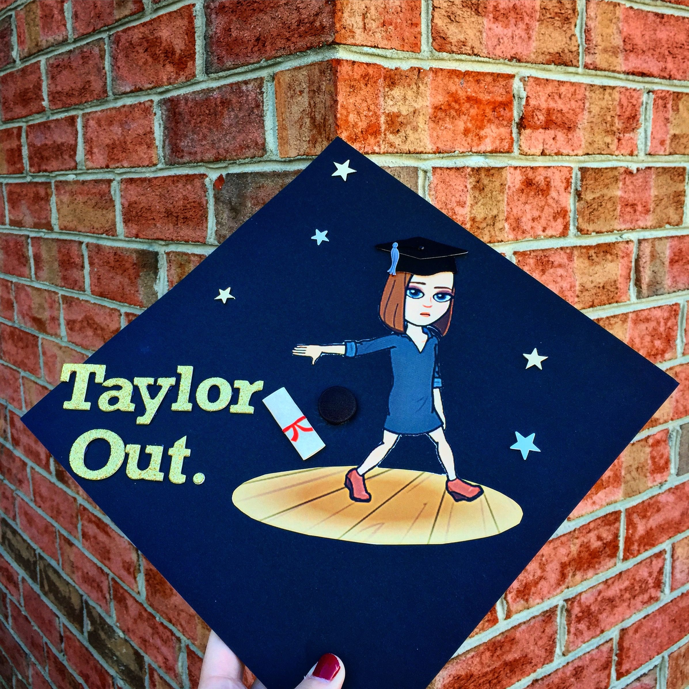 graduation cap decorated with Bitmoji DIY | grad caps