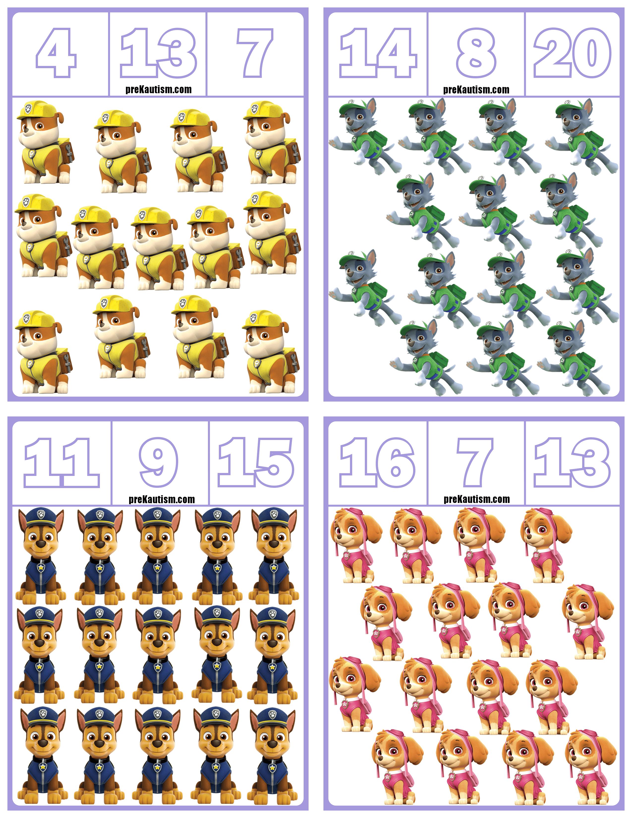 Free Paw Patrol Number Clip Cards Numbers 1 20 Math Centers Kindergarten Kindergarten Math Worksheets Math For Kids [ 3300 x 2550 Pixel ]
