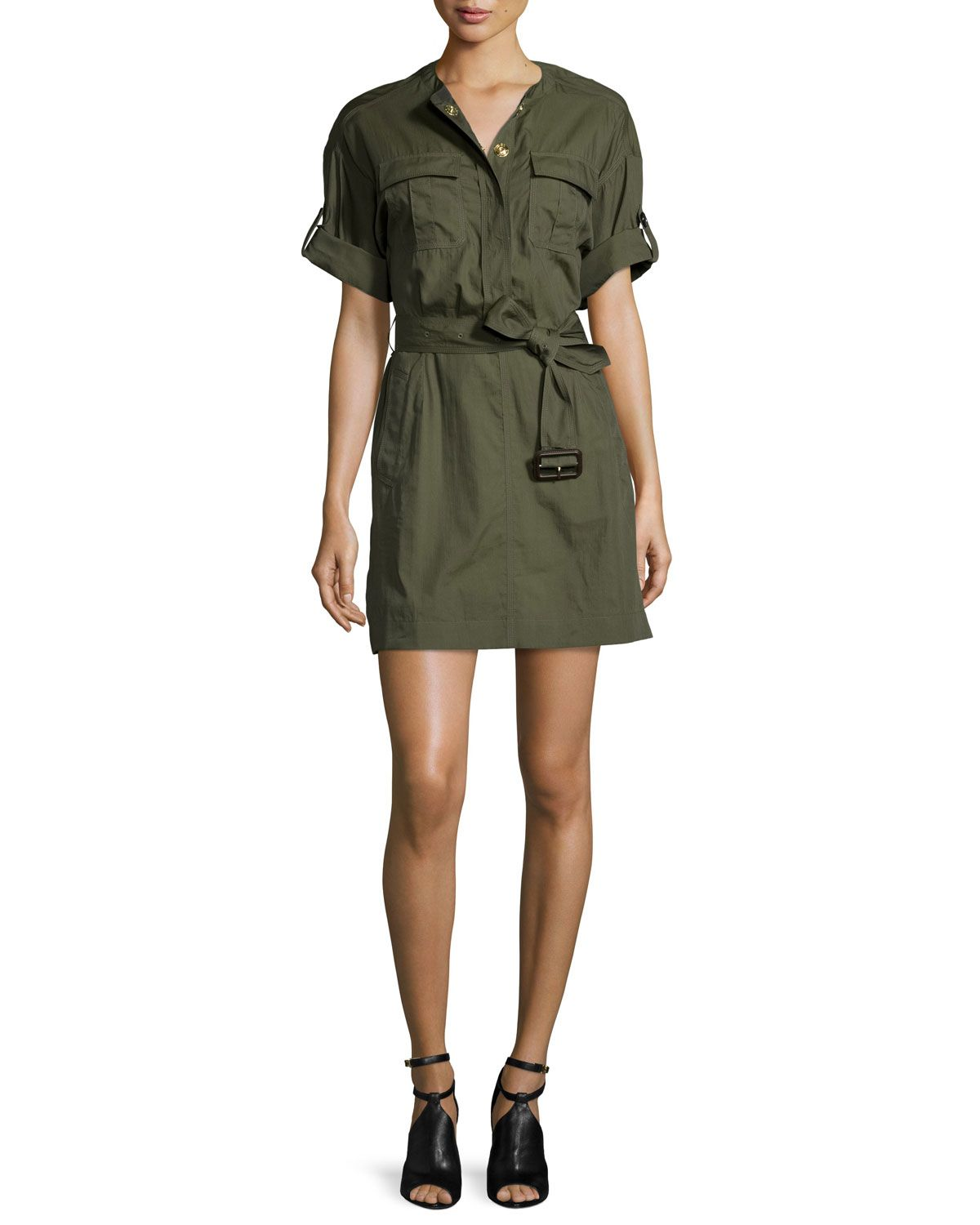 Lora Military-Inspired Dress, Size: 10, Green - Burberry Brit ...