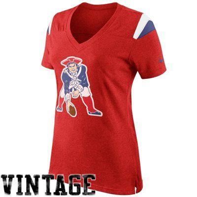 Nike New England Patriots Women s Retro Fan V-Neck T-Shirt - Red ... 5d17d3bf9
