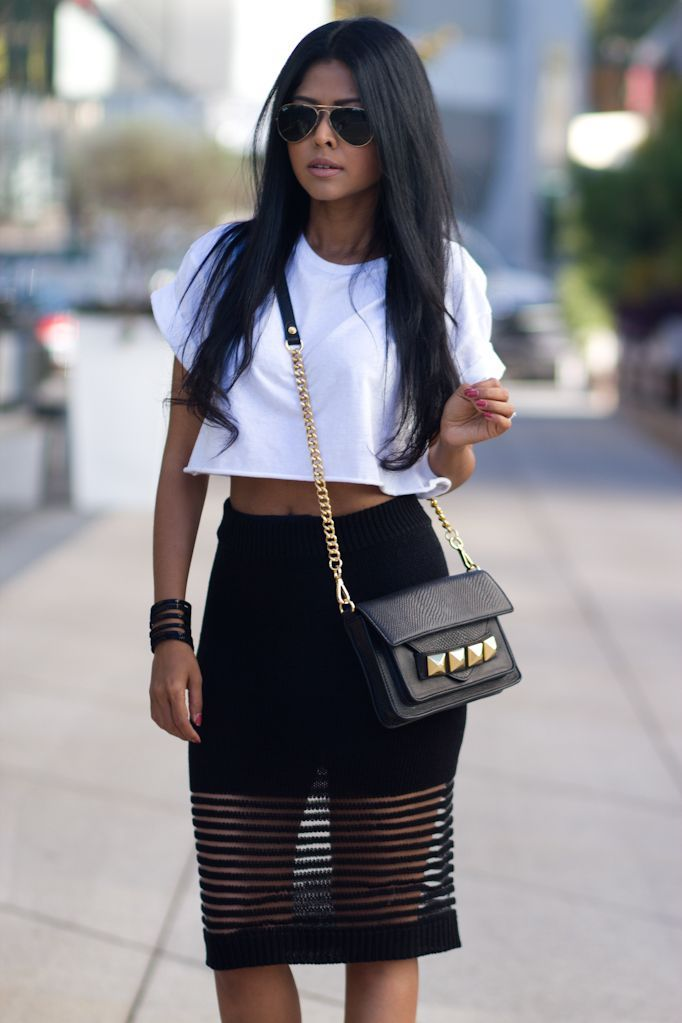 The Look: Black Stylish Skirts (mesh panel skirt) Top White Crop ...