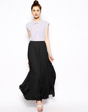 Falda larga plisada negra de Asos  2d08c4aab63c