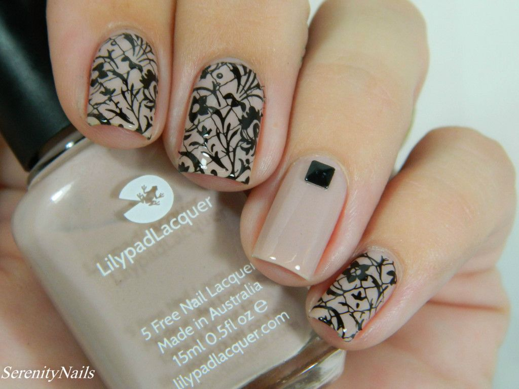 Nude and black stamping nail art freckles in suburbia stamping nail art nail stamping and - Nail art nude ...