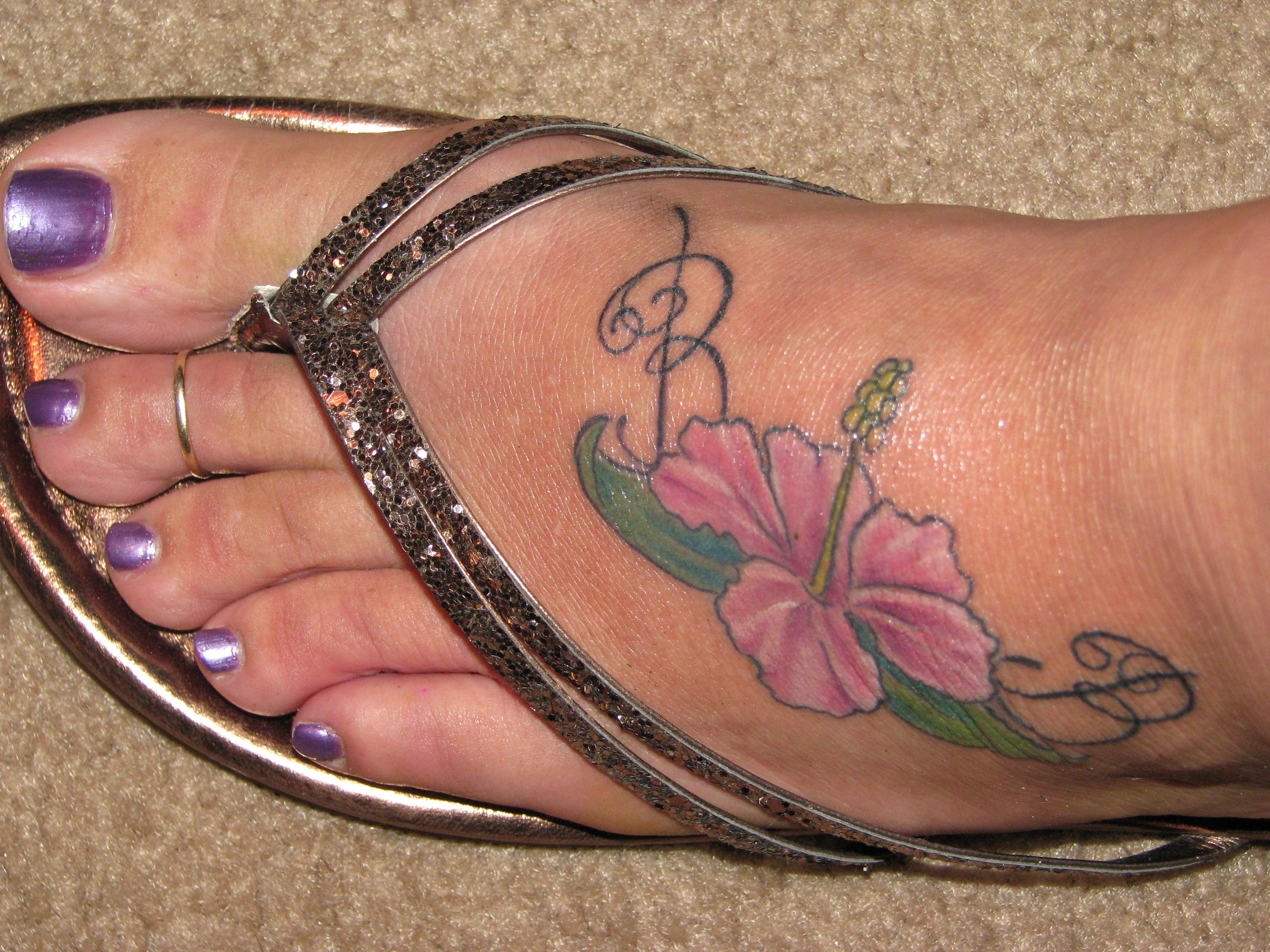I Love My Hibiscus Foot Tattoo 3 Tattoos Pinterest Flower